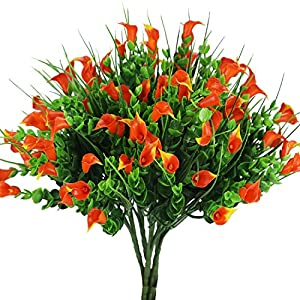 E-HAND Lily Fake Flowers Outdoor UV Resistant Artificial Plants Faux Shrubs Calla Plastic Cemetery Greenery 77