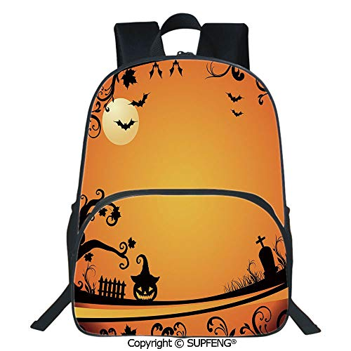 SCOXIXI Backpack Halloween Themed Image Eerie Atmosphere Gravestone Evil Pumpkin Moon Decorative (15.75