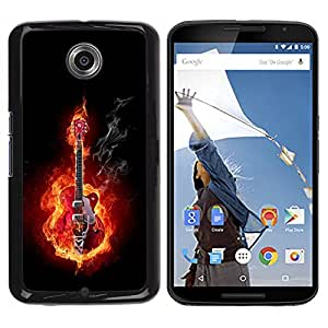 Qstar Arte & diseño plástico duro Fundas Cover Cubre Hard Case Cover para Motorola NEXUS 6 / X / Moto X Pro ( Guitar Rock Heavy Metal Flames Fire Music)