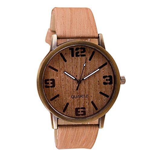2016 Classical Wooden Watch Women Wristwatches Vintage Style Men Dress Watch Pu Leather Quartz Watch 3#