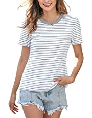 MessBebe T Shirts for Women Summer Tops Cotton Casual Tee Crew Neck Short Sleeve Stripe Loose Fit Blouse