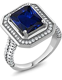 4.32 Ct Stunning Emerald Cut Blue Simulated Sapphire 925 Sterling Silver Women's Ring (Available 5,6,7,8,9)