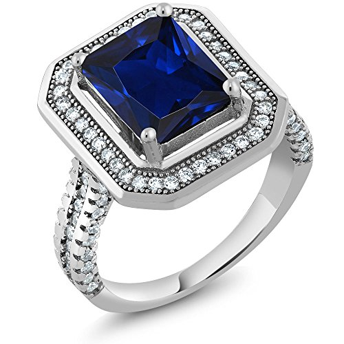 Emerald Cut Blue Sapphire (4.32 Ct Stunning Emerald Cut Blue Created Sapphire 925 Sterling Silver Women's Ring (Available in size 5, 6, 7, 8,)