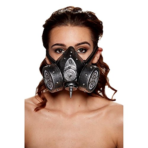 KII Steampunk Gas Mask with 2 Giant Spikes and Studs (Silver) ()