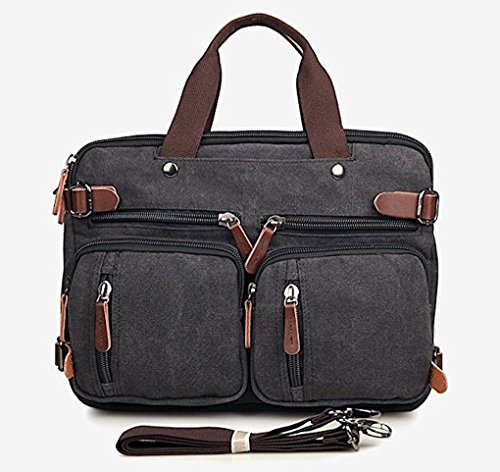 Clean Vintage Hybrid Laptop Backpack Messenger Bag / Convertible Briefcase Backpack BookBag Rucksack Satchel Waxed Canvas