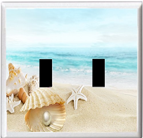SEASHELLS STARFISH ON TROPICAL SAND BEACH LIGHT SWITCH COVER PLATE (2x Toggle)