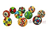10 Pieces Dotted Different Colors Multi Designed Ceramic Cupboard Cabinet Door Knobs Drawer Pulls with Chrome Hardware