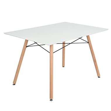 GreenForest Dining Table Rectangular Top with Wooden Legs Modern Leisure Coffee Table 44'' x 28'' Compact Size White