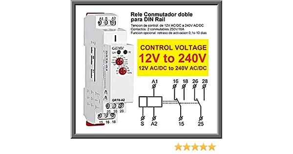 elbox99 Rele DIN Rail 12V 24V 36 48 220 230V AC DC Conmutador Doble 2P 2NO 2NC Contactor