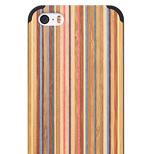 iPhone 5/5S/SE WOOD Case - iCASEIT Slimfit Lightweight Unique Grain Hybrid Snap-On Protective Shockproof Drop proof Bumper Protection Real WOODEN Cover for Phone SE / 5S / 5 - Rainbow / Black