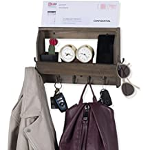Wallniture Entryway Décor Mail Holder Shelf Coat Rack with 8 Hooks Wood Walnut 12 Inches Long