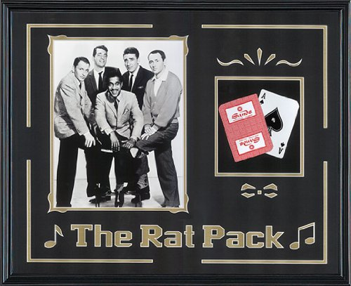 Sinatra Clan. The Rat Pack Casino Music Movie Memorabilia. Professionally Framed in Real Wood Classic Black Frame (21.5 x 17.5)
