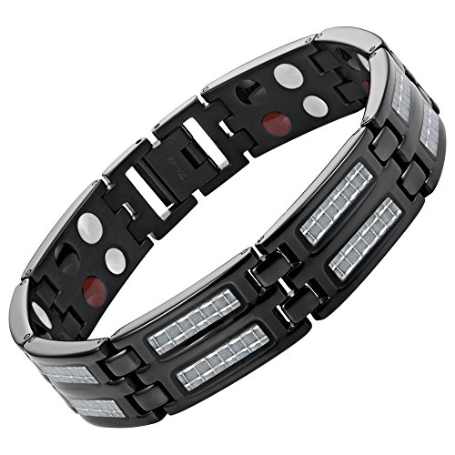 Carbon Fiber Titanium Magnetic 4 Element Bracelet Double Strength Adjusting Tool and Gift Box Included By Willis Judd