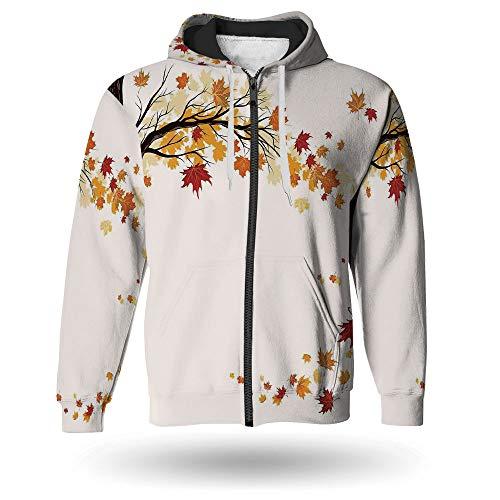 Transition Full Zip Hoody - iPrint Men's,Fall Decorations Long Sleeve Full-Zip Bomber Jacket Hooded Varsity Jacket