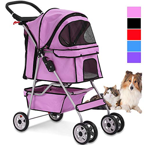 4 Wheels Pet Stroller Cat Dog Cage Stroller Travel Folding Carrier with Cup Holders and Removable Liner for Small-Medium Dog, Cat ()