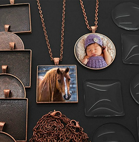 20 Pack Large Square and Circle Assortment Copper Photo Pendants w/ Glass 1 1/4 Inches + 20 Link Chains Includes Bonus Ez Photo Jewelry Software