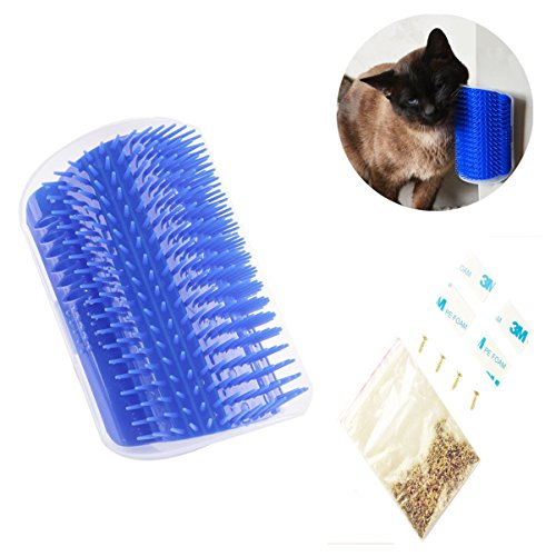 Cat Self Groomer - Citmage Hard Plastic Grooming Brush -  Remove Shedding Hair,Massage with Catnip,Screws,Double-sided Tapes for Long & Short Fur Cats (Blue)