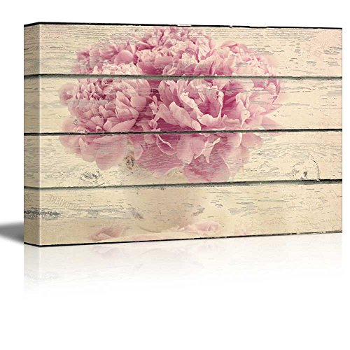 wall26 - Canvas Wall Art - Pink Flower in a Vase on Vintage Wood Textured Background - Rustic Country Style Modern Giclee Print Gallery Wrap Home Decor Ready to Hang - 16
