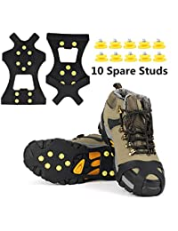 Ice Grips, Ice & Snow Grips Cleat Over Shoe/Boot Traction Cleat Rubber Spikes Anti Slip 10 Steel Studs Crampons Slip-on Stretch Footwear