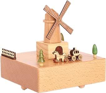 Bangxiu-home Cajas Musicales Molino de Viento holandés Caja de música Caja de música de Madera Maciza Adornos artesanales de Madera Regalos creativos Regalo de cumpleaños de San Valentín: Amazon.es: Hogar