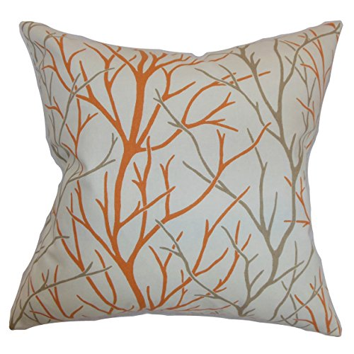 The Pillow Collection P18FLAT-D-21043-TANGERINE-C100 Fder...