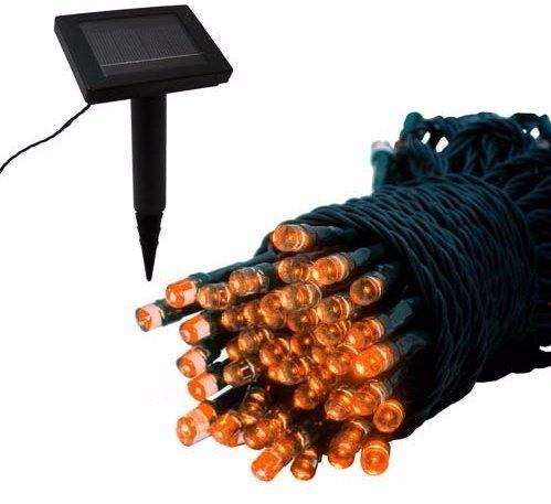 Orange 100 LED Solar Powered Light String