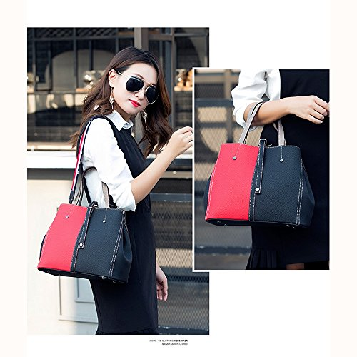 Red Color Laptop Waterproof Women's Stitching Shoulder Yellow FangYOU1314 Bag Surface Casual Soft yCwY77zPq