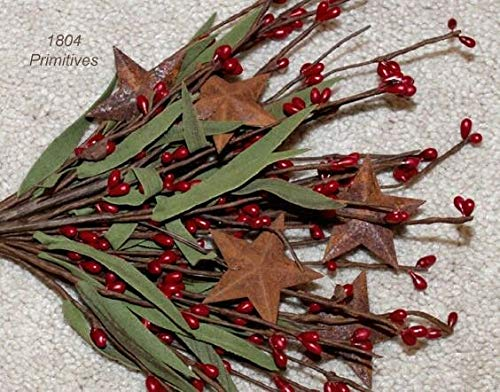 (Primitive & Country Style 12'' Antique Red Pip Berry Stems/Picks with Rusty Tin Stars Rustic Home Decor)