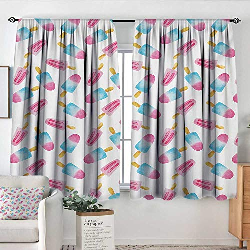 Mozenou Ice Cream Waterproof Window Curtain Pattern with Refreshing Watercolor Popsicles on White Background Customized Curtains 55