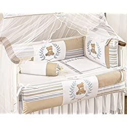 Teddy Bear Themed Beige and Blue Baby Boys 10 Pcs Nursery Crib Set Embroidered