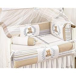 Teddy Bear Themed Beige and Blue Baby Boys 10 Pcs Nursery Crib Set Embroidered