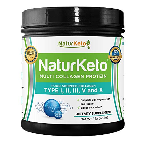 Hydrolyzed Collagen Peptides Protein Powder: Organic Tasteless Multi-Collagen Hydrolysate Protein Dietary Supplement from Grass Fed Beef, Lean Chicken Bone Broth, Wild Fish and Eggshell - Natural Form