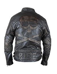 Flesh & Hide F&H Men's Distressed Cowhide Leather Skull & Bones Ride Moto Double Rider Jacket