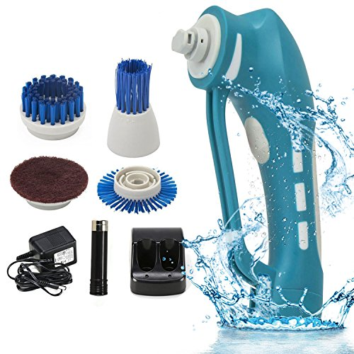 Electric Cleaning Brush Power Spin Scrubber Brushes For Bathroom Tubs Sinks Baseboards Fiberglass Shower Enclosures Shower door tracks Porcelain and more (Glass Electric Brush Cleaner)