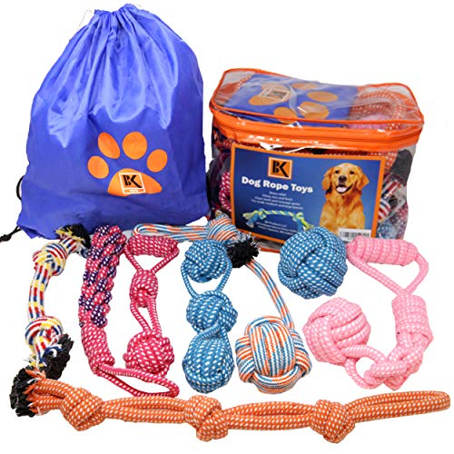 BK PRODUCTS LLC Dog Toys - 8 Extra Large Dog Rope Toys - Dog Chew Toy for Medium and Large Dogs - Set of Dog Rope Toys for Chewing, Tug of War and Teething with Bonus Storage Bag
