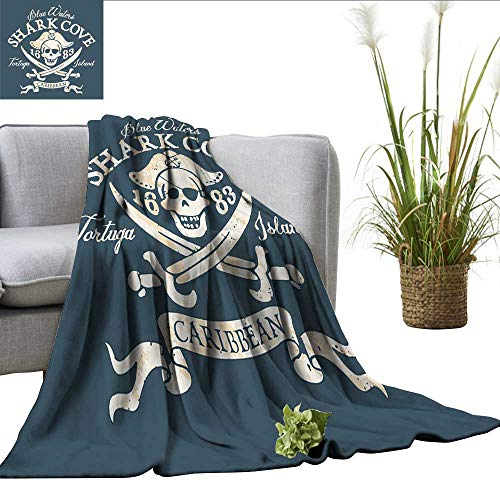 ScottDecor Pirate Queen Size microplush Blanket Shark Cove Tortuga Island Caribbean Waters Retro Jolly Roger Thin Blanket for Summer Slate Blue White Light Mustard W30 xL50