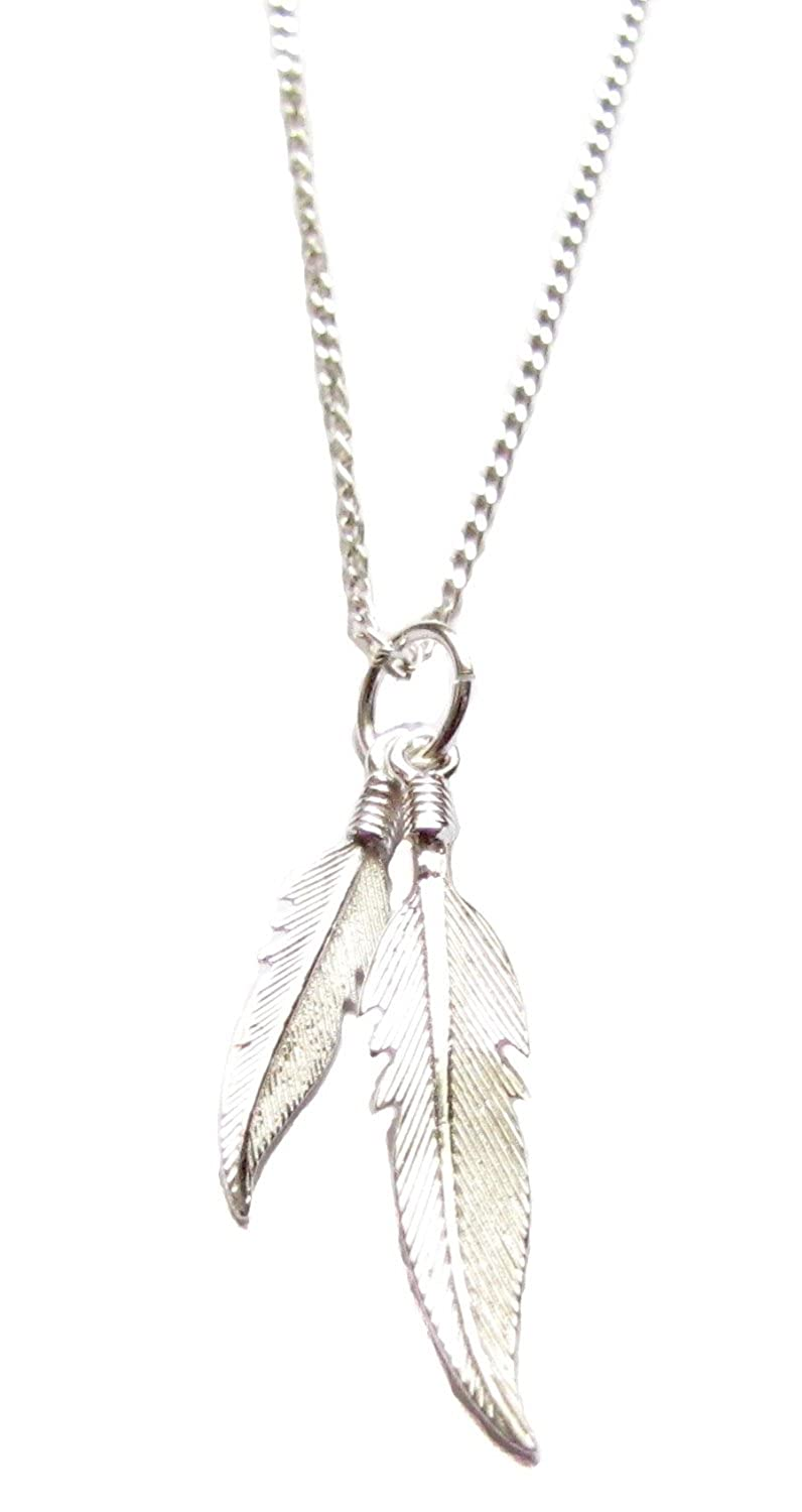 Amazon sterling silver two feathers charm necklace 18 amazon sterling silver two feathers charm necklace 18 feather pendant jewelry jewelry buycottarizona Image collections