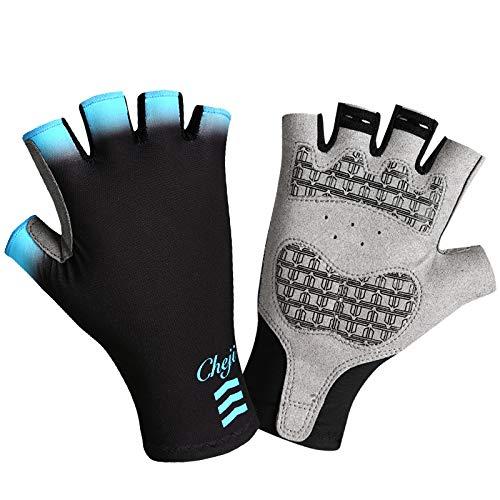 ESFHWYD Cycling Gloves Men Women Bike Gloves Half Figner Gel Palm Pro Team Bicycle Sport Gloves Lie shou Blue