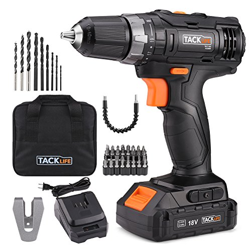 Tacklife PCD05B 20V MAX 3/8″ Cordless Drill Driver Set, 2-Speed Max Torque 265 In-lbs 19+1 Position with LED, 43pcs Accessories Included, 2.0Ah Lithium-Ion Battery