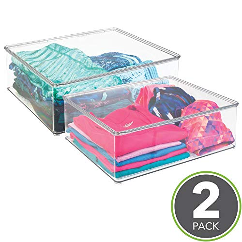 mDesign Plastic Closet Organizer Clothing Storage Box with Lid for Shirts, Sweaters, Pants - Pack of 2, 5 High, Clear