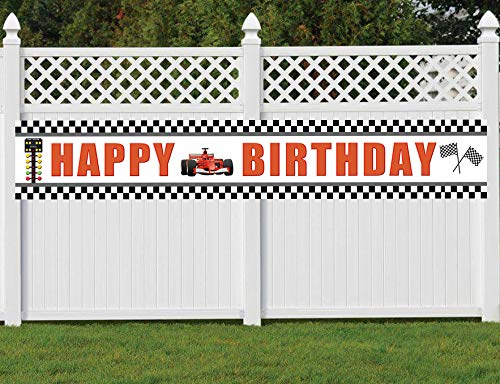 (Race Car Birthday Banner, Large Speed Race Car Theme Happy Birthday Sign, Race Party Decorations)