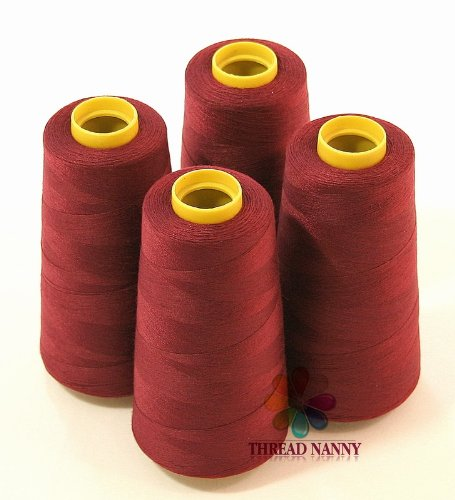 4 Large Cones (3000 yards each) of Polyester threads for Sewing Quilting Serger Maroon Color from ThreadNanny