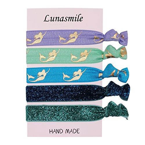 Mermaid Birthday Party Favors Hair Tie Set Girls Birthday Ponytail Holder Hair Ties (Mermaid 6 Pack)
