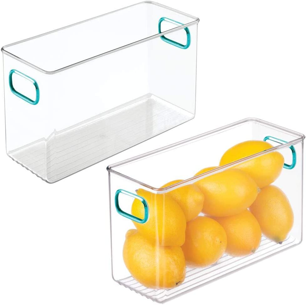 """mDesign Deep Plastic Kitchen Pantry, Cabinet, Refrigerator, Freezer Food Storage Bin Container with Handles - Organizer for Fruit, Yogurt, Snacks, Pasta - 10"""" Long, 2 Pack - Clear/Blue"""
