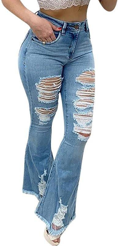 Mujer Rotos Vaqueros Color Claro Pantalones Acampanados Cintura Alta Pierna Ancha Jeans Con Bolsillo Elasticos Push Up Denim Pantalon Lavados Pantalones De Mezclilla Amazon Es Ropa Y Accesorios