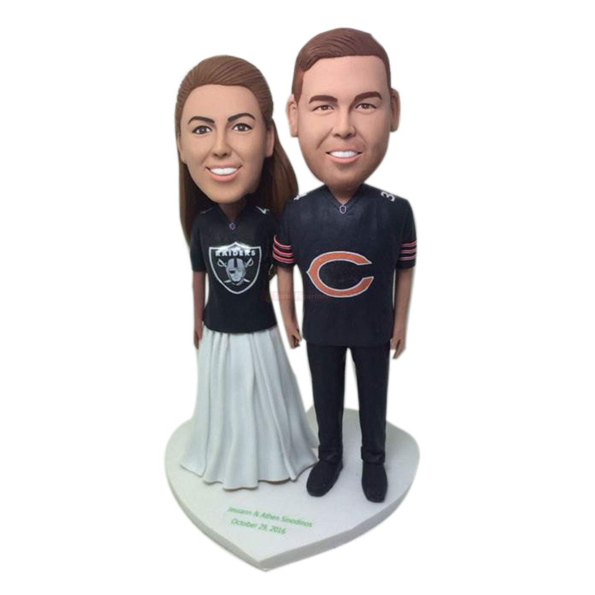 Amazon Com Oakland Raiders Chicago Bears Fan Personalized Wedding Cake Topper Custom Bobble Head Figurine Based On Customers Photos Wedding Gift Handmade