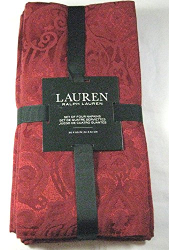 Set of 4 Ralph Lauren Paisley /Red Dinner Napkins- 20