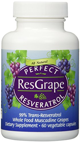 Perfect ResGrape - 99% Trans-Resveratrol & Organic Muscadine Grape - Anti-Aging Supplement & Potent Antioxidant - 60 Veg (99 Trans Resveratrol)