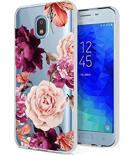 Galaxy J7 2018 Case,Galaxy J7 V 2nd Gen Case, BAISRKE Slim Shockproof Clear Floral Pattern Soft Flexible TPU Back Cove for Samsung Galaxy J7 2018/J7 Refine/J7 Top/J7 Star/J7 Aero/J7 Crown [Purple]