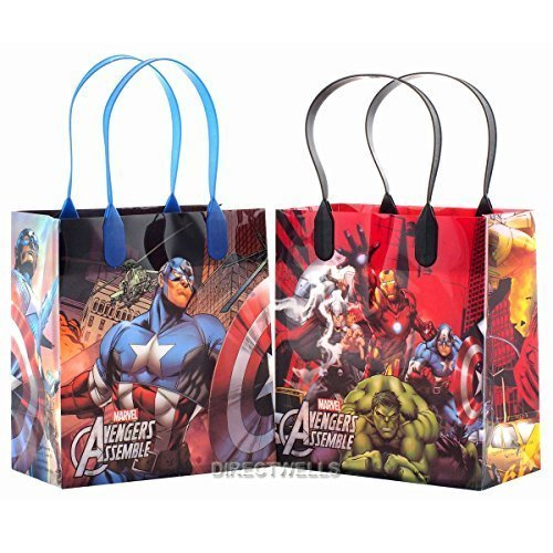Marvel Avengers Premium Quality Party Favor Goodie Small Gift Bags 12 (Avengers Party Favours)